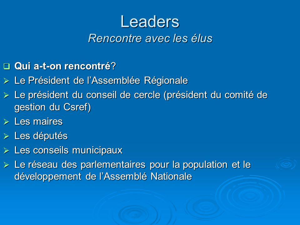 Leaders Rencontre avec les élus
