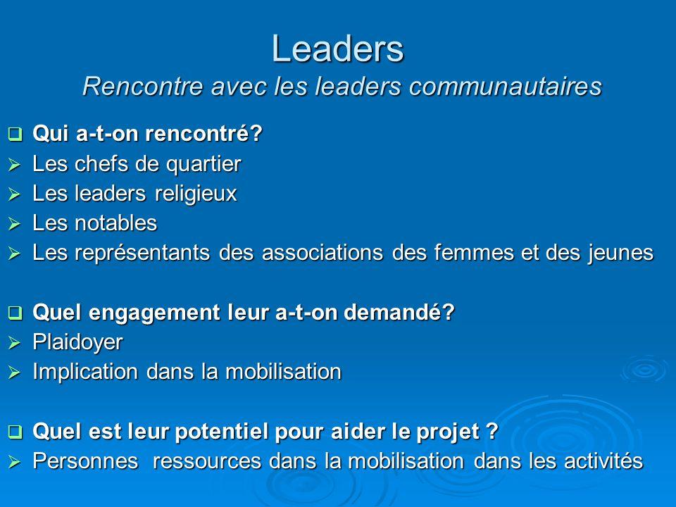 Leaders Rencontre avec les leaders communautaires