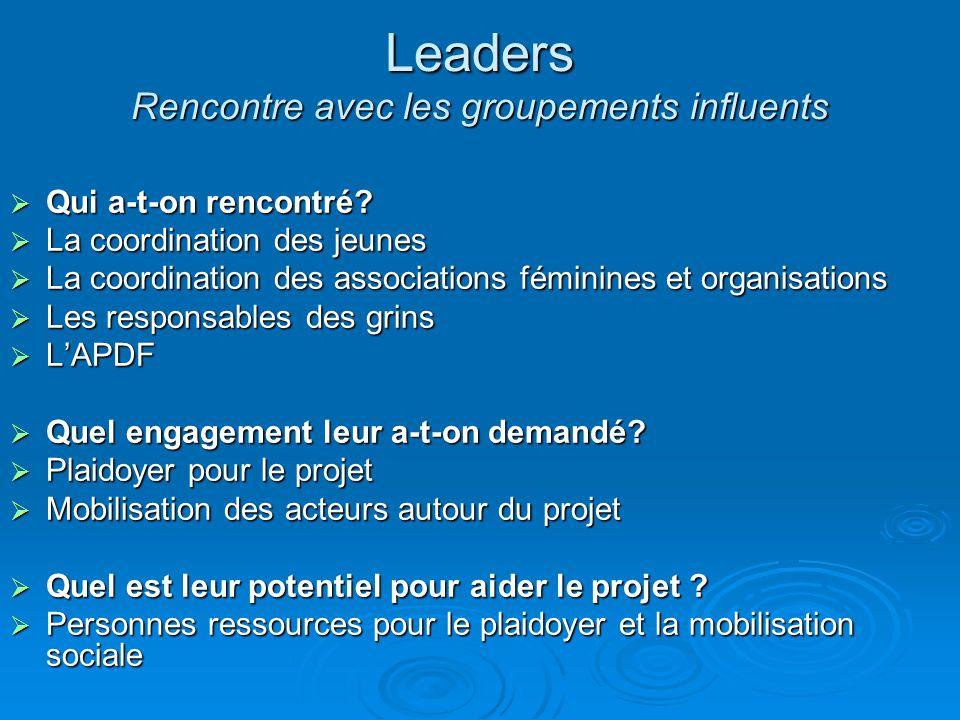 Leaders Rencontre avec les groupements influents
