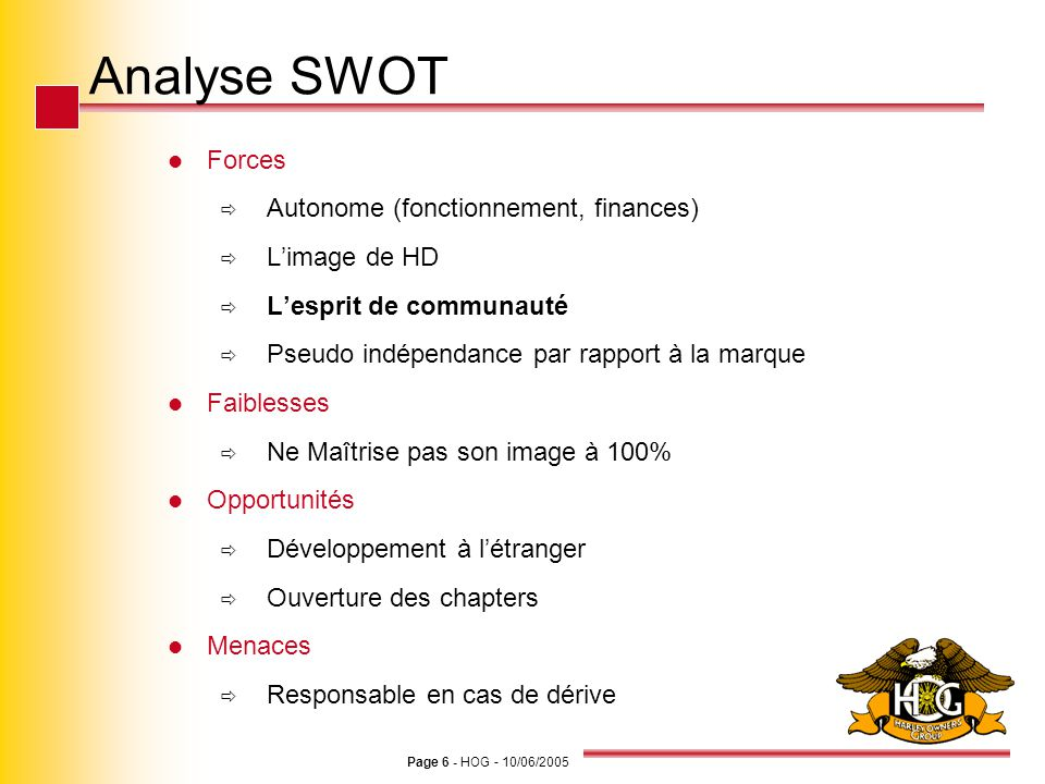 Analyse SWOT Forces Autonome (fonctionnement, finances) L'image de HD