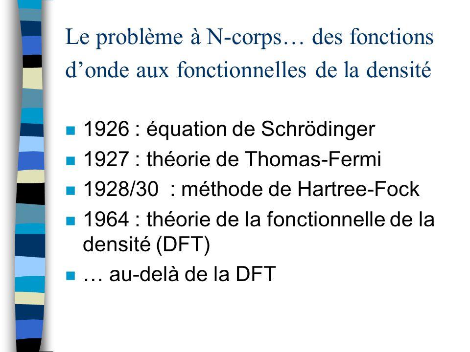 Le problème à N-corps… des fonctions d'onde aux fonctionnelles de la densité