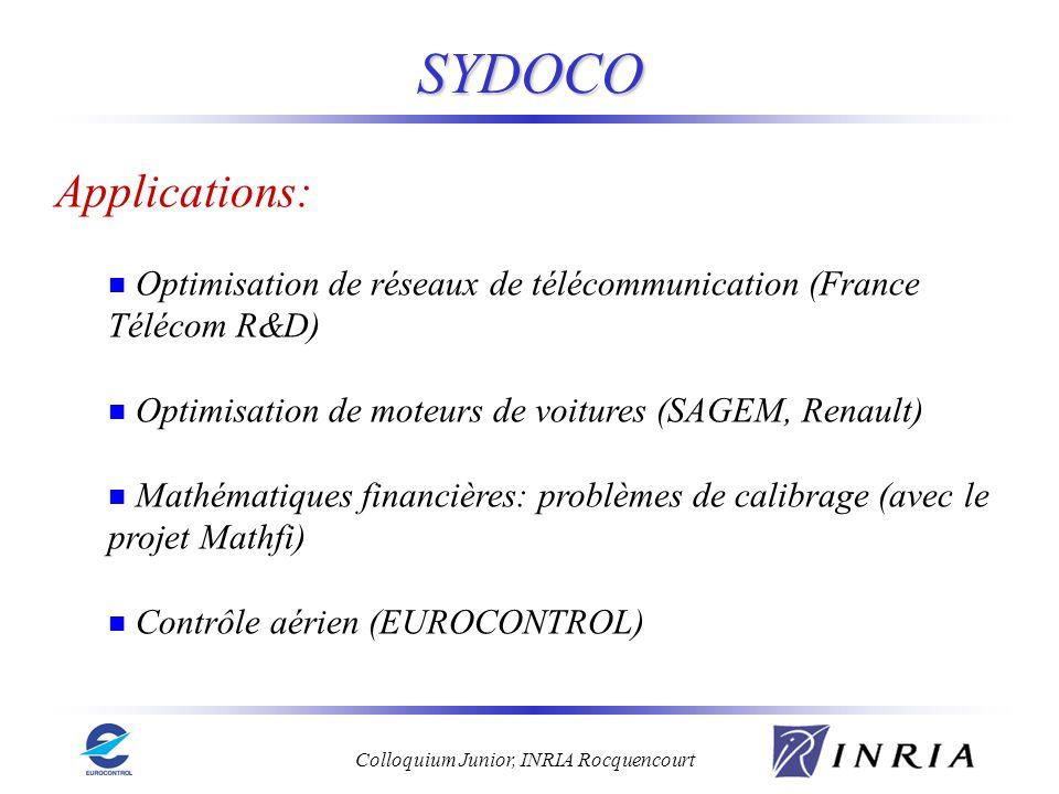 SYDOCO Applications: Optimisation de réseaux de télécommunication (France Télécom R&D) Optimisation de moteurs de voitures (SAGEM, Renault)