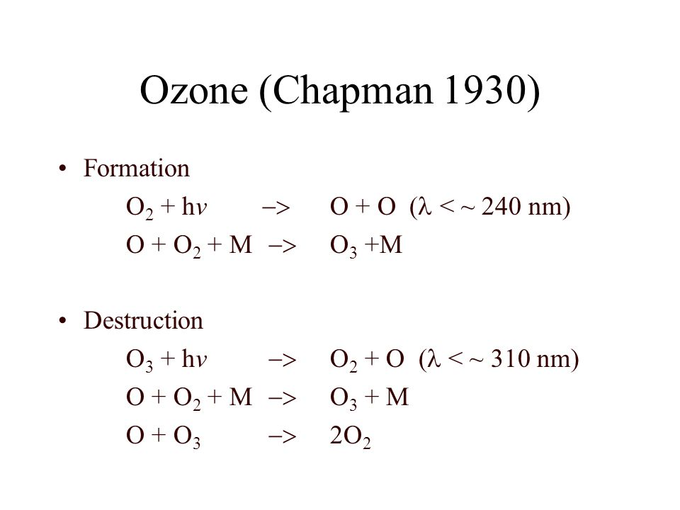Ozone (Chapman 1930) Formation O2 + hv -> O + O (l < ~ 240 nm)