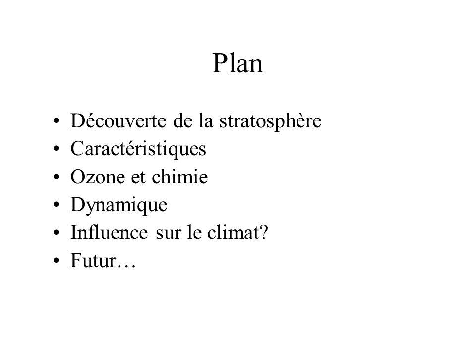 Plan Découverte de la stratosphère Caractéristiques Ozone et chimie