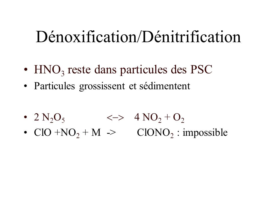 Dénoxification/Dénitrification