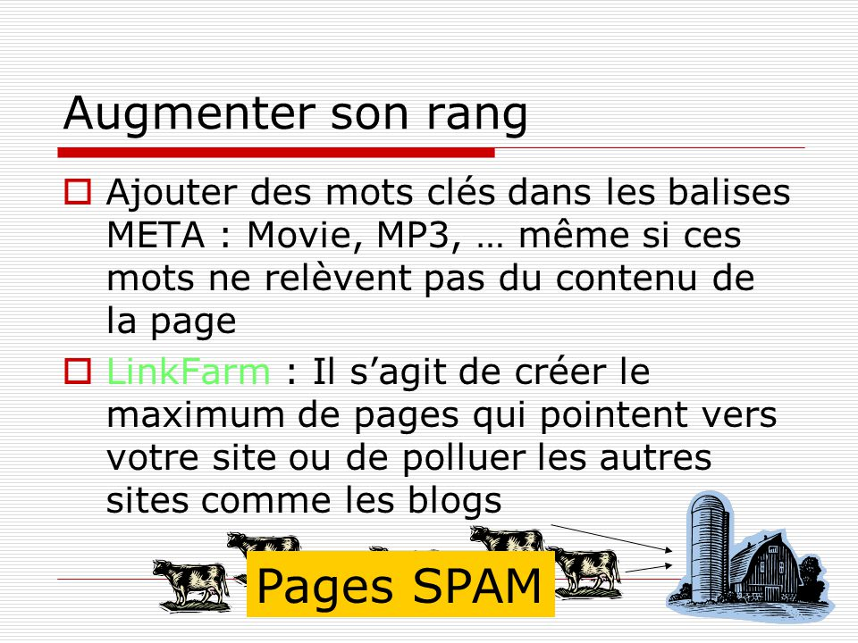 Pages SPAM Augmenter son rang