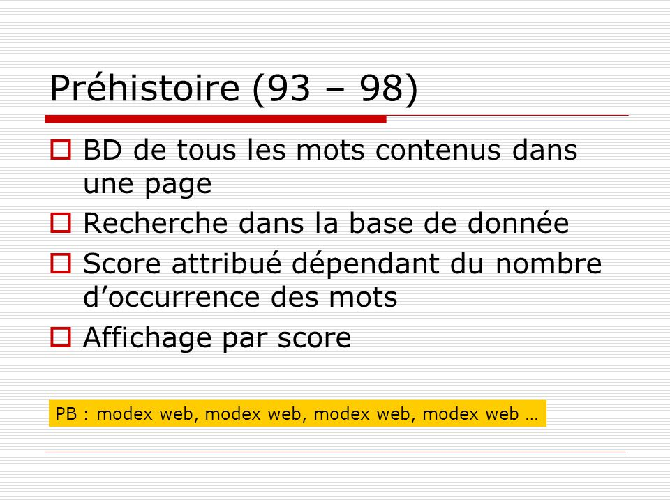 Préhistoire (93 – 98) BD de tous les mots contenus dans une page