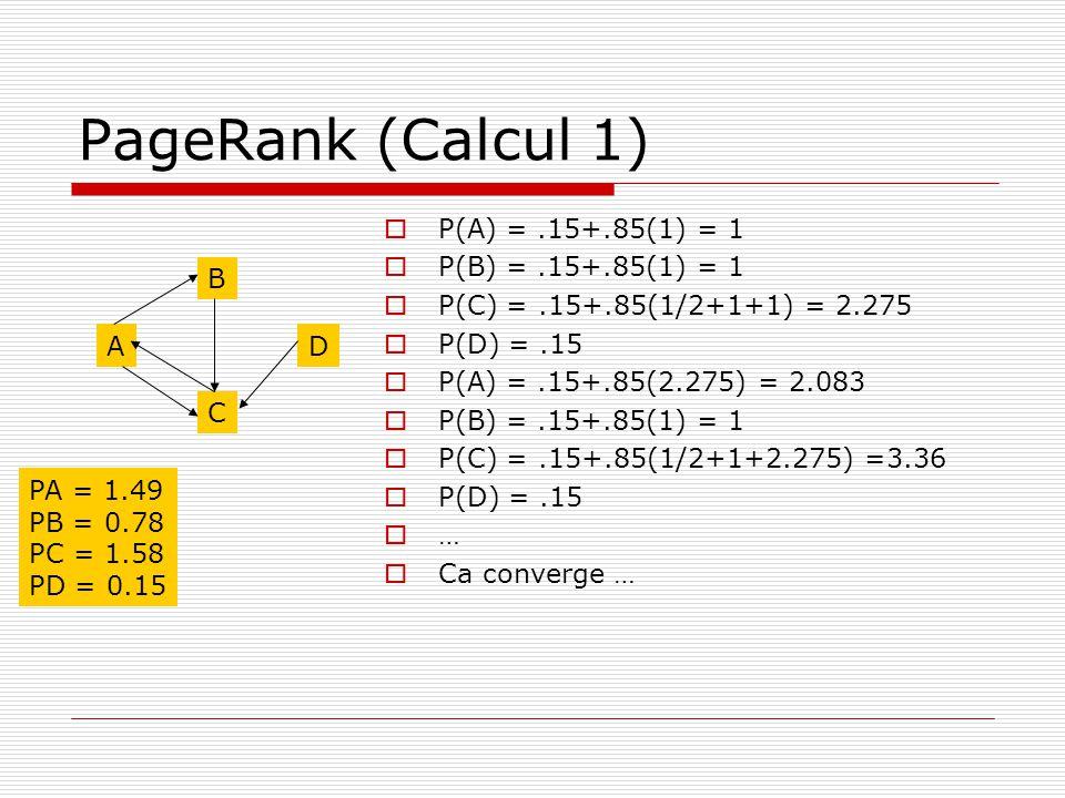 PageRank (Calcul 1) P(A) = .15+.85(1) = 1 P(B) = .15+.85(1) = 1