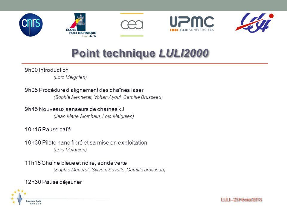 Point technique LULI2000 9h00 Introduction (Loïc Meignien)