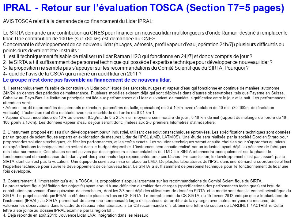 IPRAL - Retour sur l'évaluation TOSCA (Section T7=5 pages)