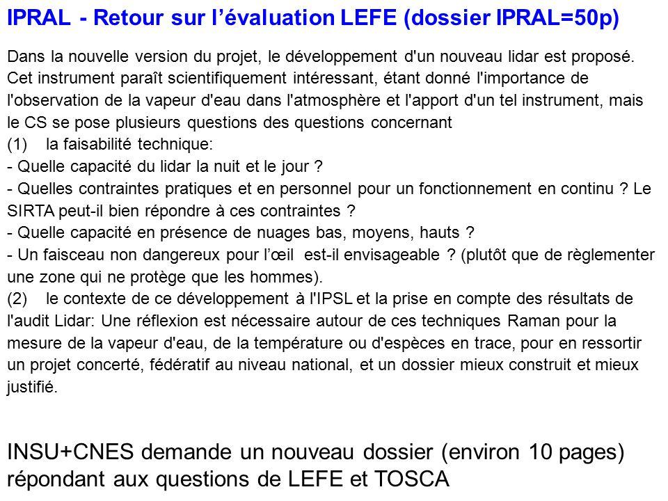 IPRAL - Retour sur l'évaluation LEFE (dossier IPRAL=50p)