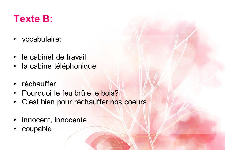 Texte B: vocabulaire: le cabinet de travail la cabine téléphonique