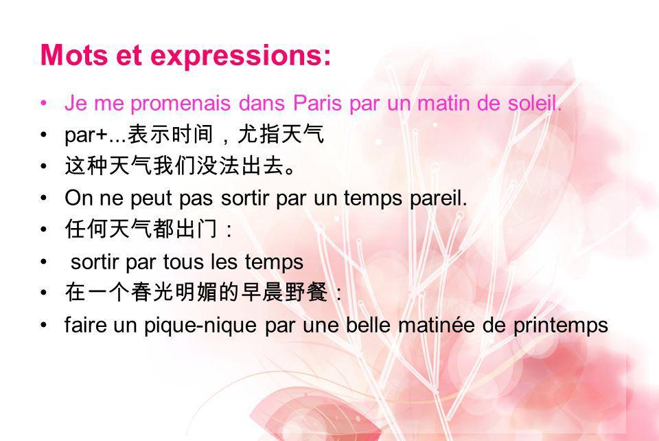 Mots et expressions: Je me promenais dans Paris par un matin de soleil. par+...表示时间,尤指天气. 这种天气我们没法出去。