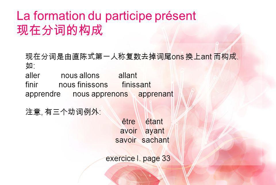 La formation du participe présent 现在分词的构成