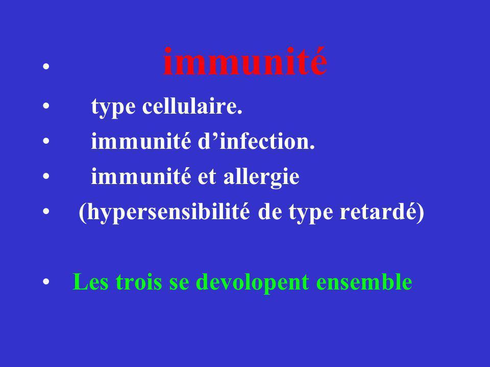 immunité type cellulaire. immunité d'infection. immunité et allergie. (hypersensibilité de type retardé)
