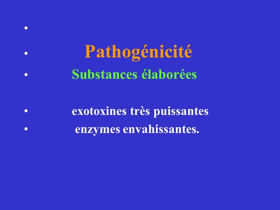 Pathogénicité. Substances élaborées.