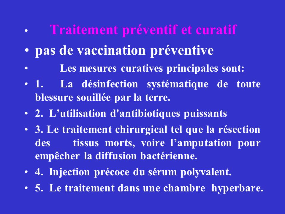 pas de vaccination préventive