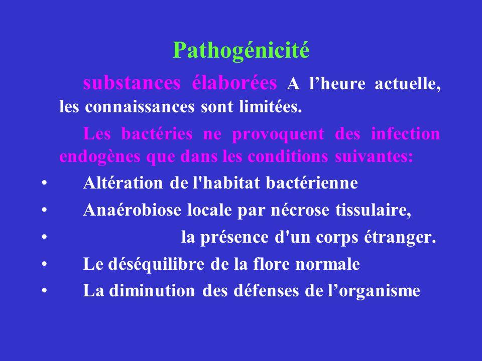 Pathogénicité substances élaborées A l'heure actuelle, les connaissances sont limitées.