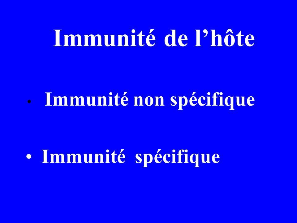 Immunité de l'hôte Immunité non spécifique Immunité spécifique