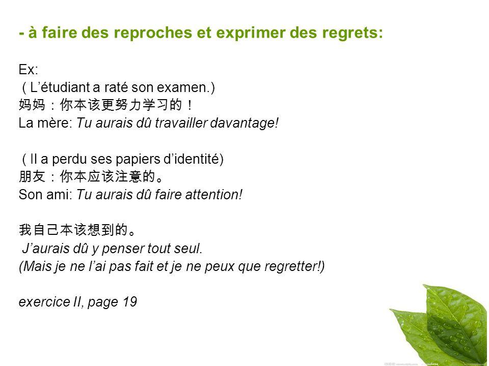 - à faire des reproches et exprimer des regrets: