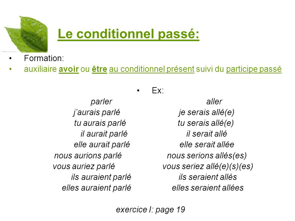 Le conditionnel passé: