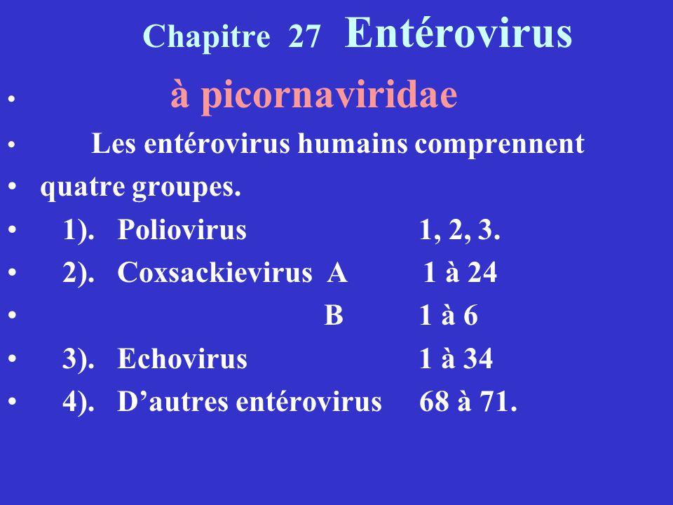 Chapitre 27 Entérovirus quatre groupes. 1). Poliovirus 1, 2, 3.