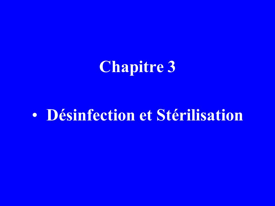 Désinfection et Stérilisation