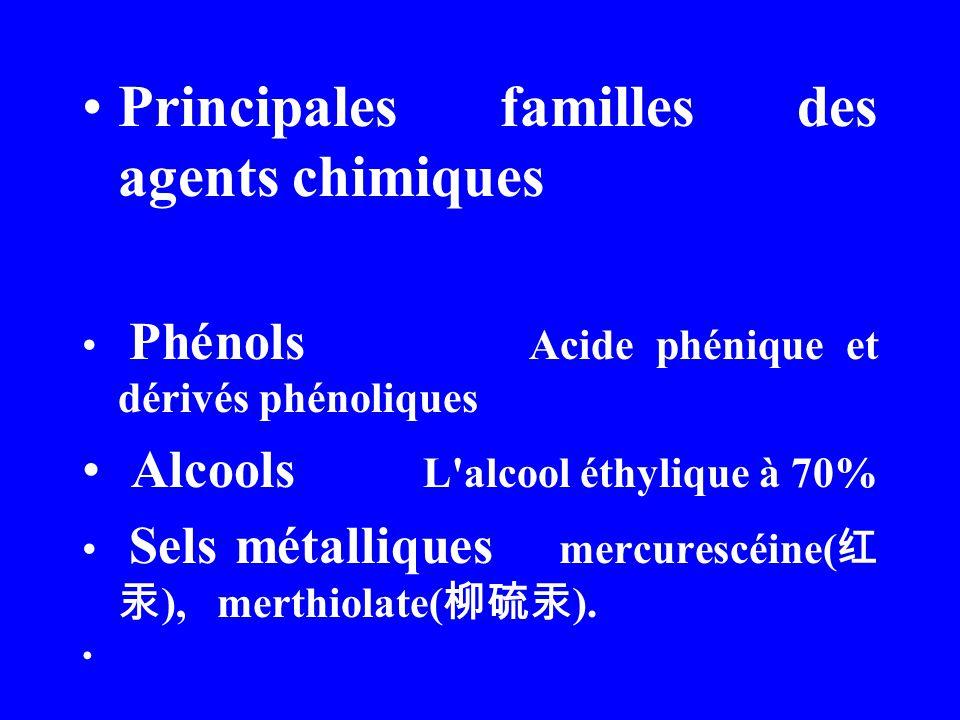 Principales familles des agents chimiques