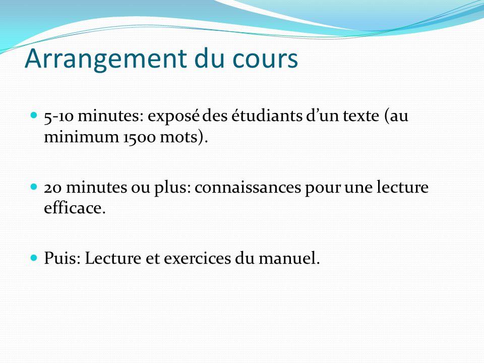 Arrangement du cours 5-10 minutes: exposé des étudiants d'un texte (au minimum 1500 mots).