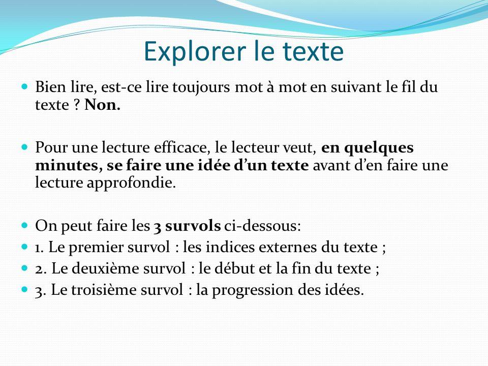 Explorer le texte Bien lire, est-ce lire toujours mot à mot en suivant le fil du texte Non.
