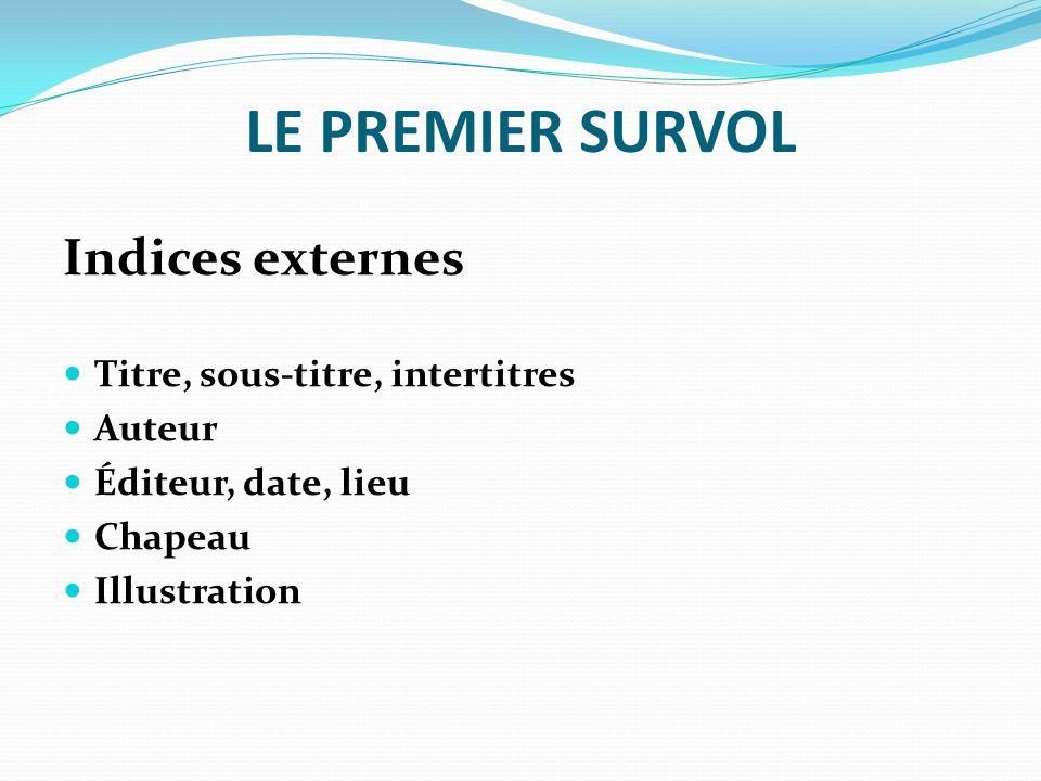 LE PREMIER SURVOL Indices externes Titre, sous-titre, intertitres