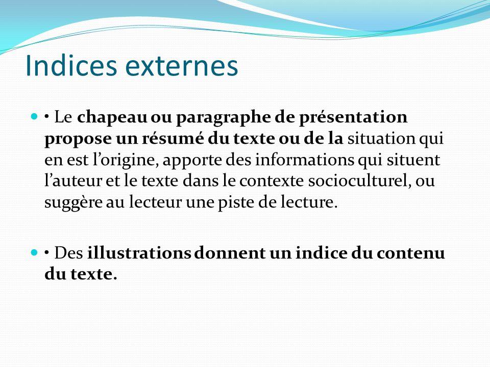 Indices externes