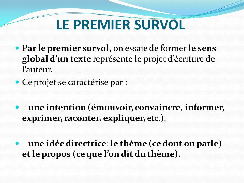 LE PREMIER SURVOL Par le premier survol, on essaie de former le sens global d'un texte représente le projet d'écriture de l'auteur.