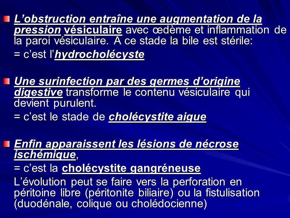 L'obstruction entraîne une augmentation de la pression vésiculaire avec œdème et inflammation de la paroi vésiculaire. A ce stade la bile est stérile: