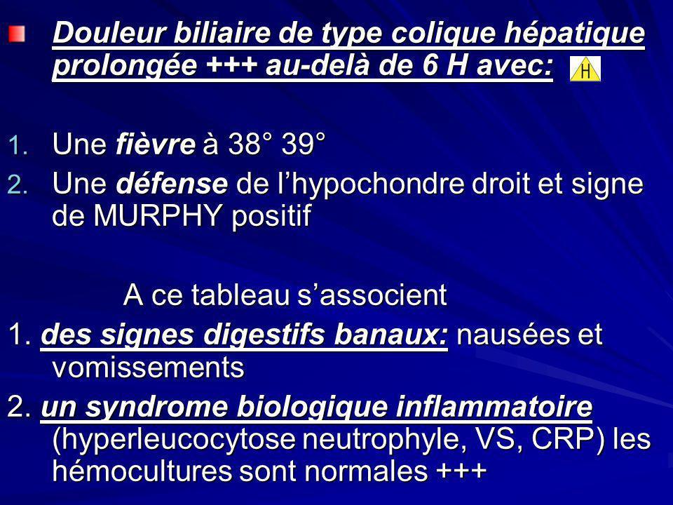 Douleur biliaire de type colique hépatique prolongée +++ au-delà de 6 H avec: