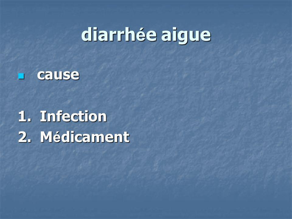 diarrhée aigue cause 1. Infection 2. Médicament