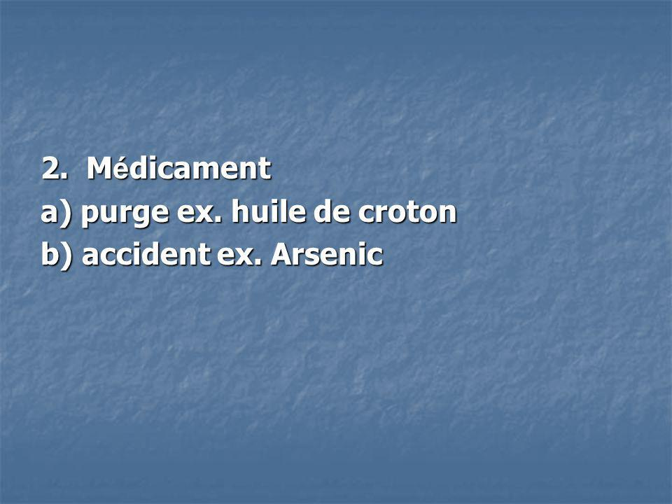 2. Médicament a) purge ex. huile de croton b) accident ex. Arsenic