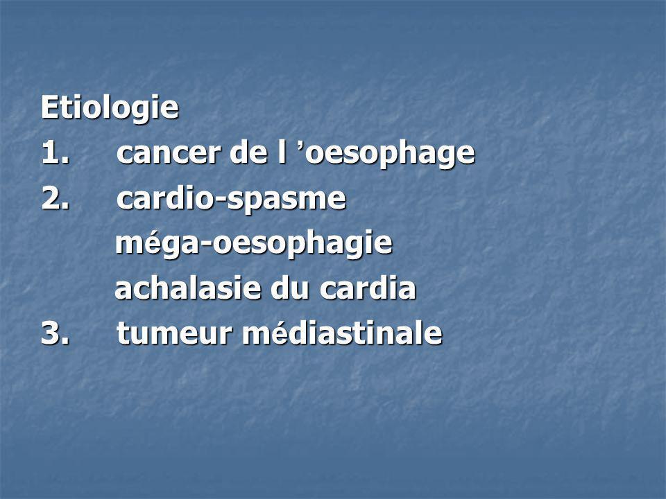 Etiologie 1. cancer de l 'oesophage. 2. cardio-spasme. méga-oesophagie. achalasie du cardia.