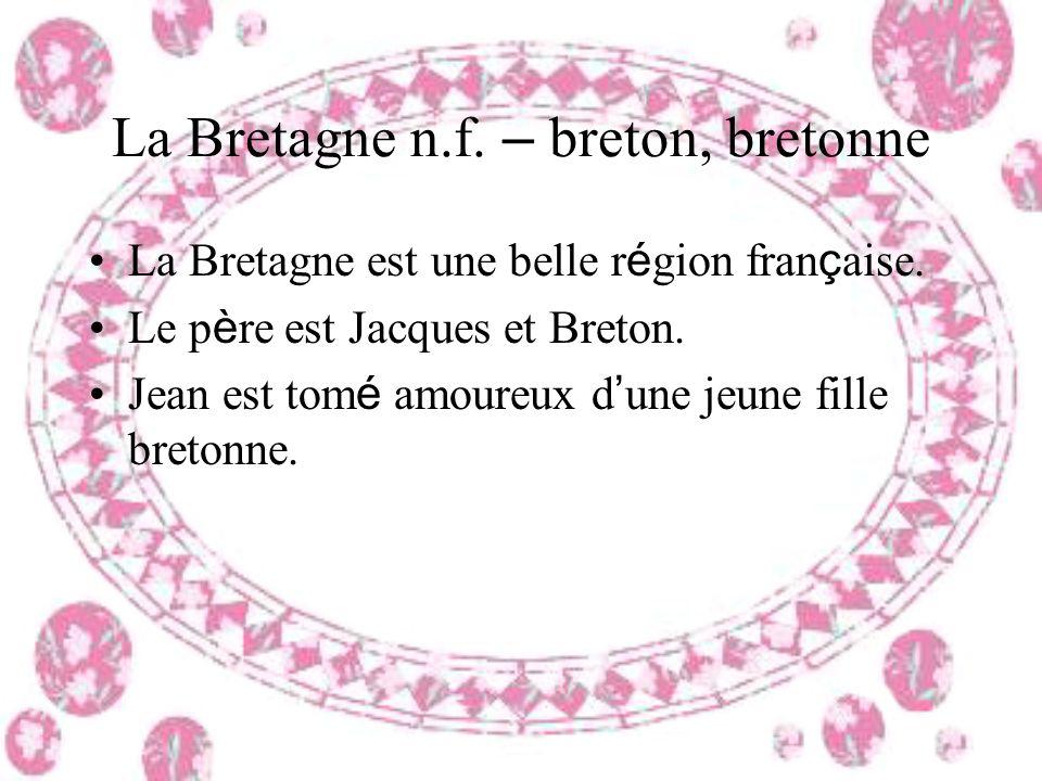 La Bretagne n.f. – breton, bretonne