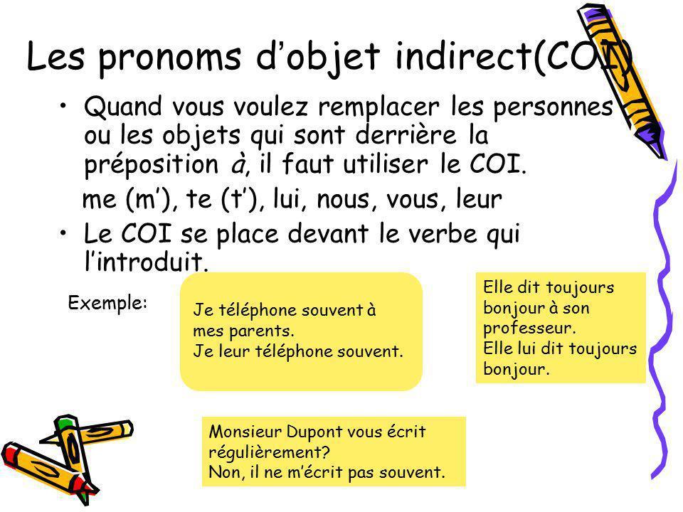 Les pronoms d'objet indirect(COI)