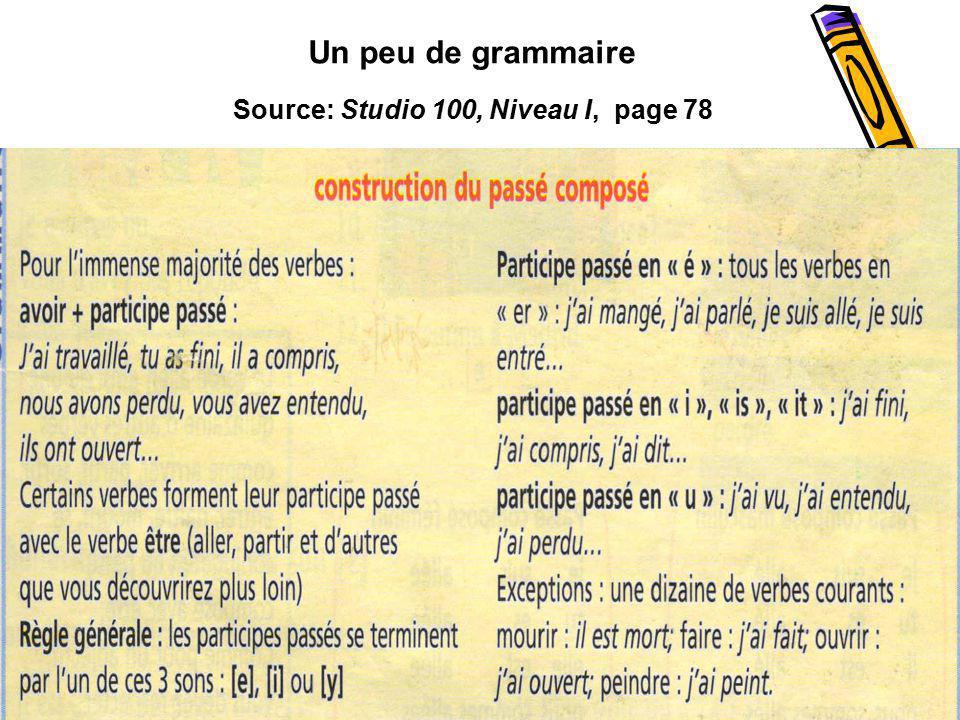 Un peu de grammaire Source: Studio 100, Niveau I, page 78