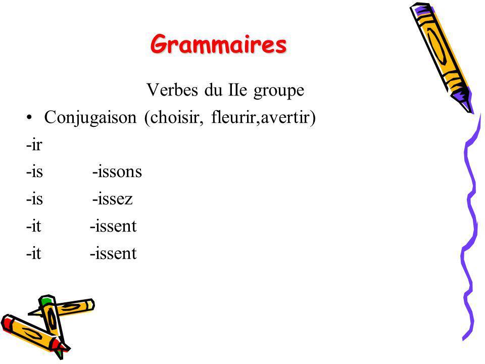 Grammaires Verbes du IIe groupe Conjugaison (choisir, fleurir,avertir)