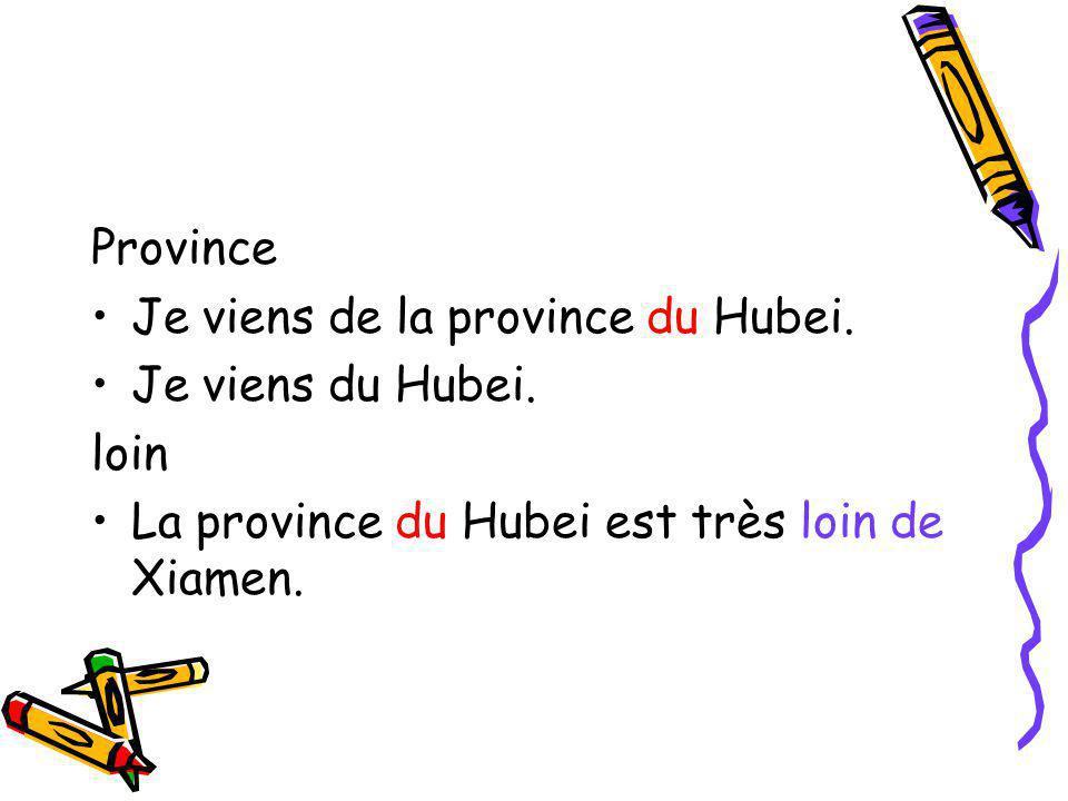 Province Je viens de la province du Hubei. Je viens du Hubei.