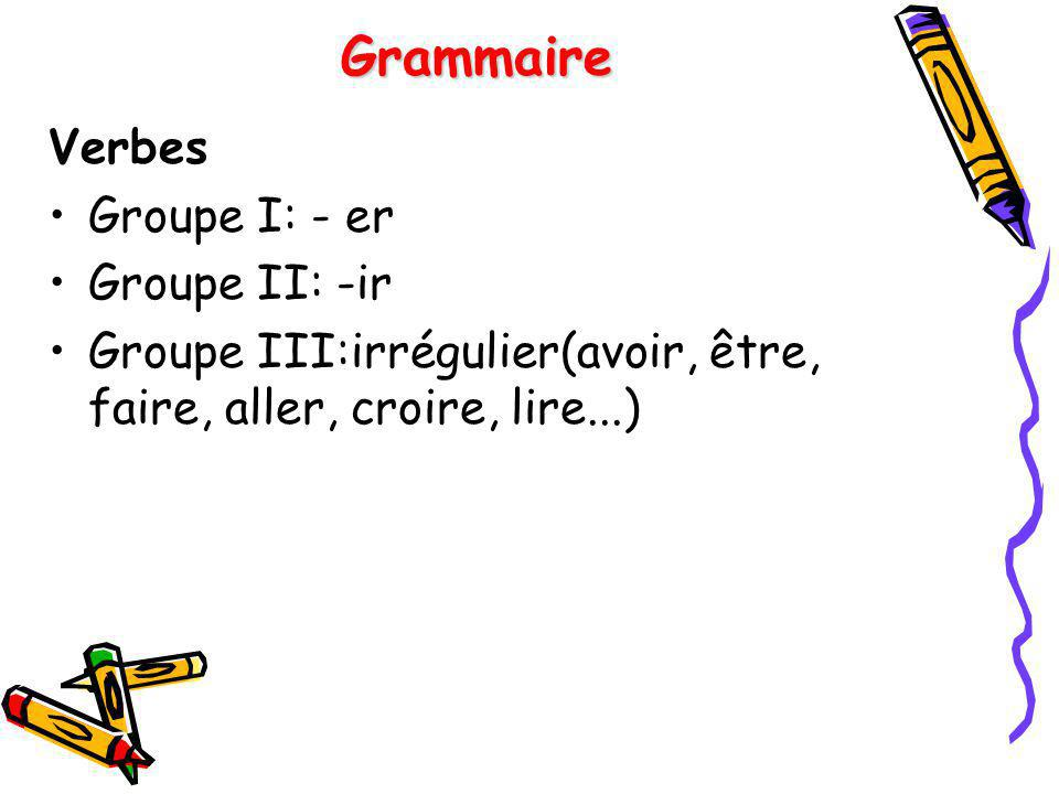 Grammaire Verbes Groupe I: - er Groupe II: -ir