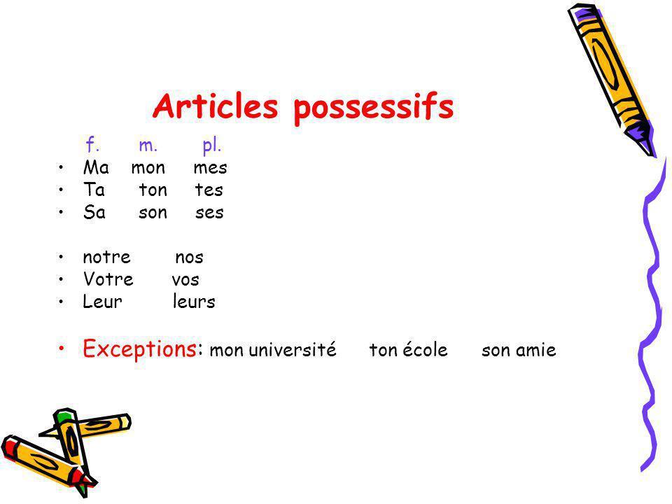 Articles possessifs Exceptions: mon université ton école son amie