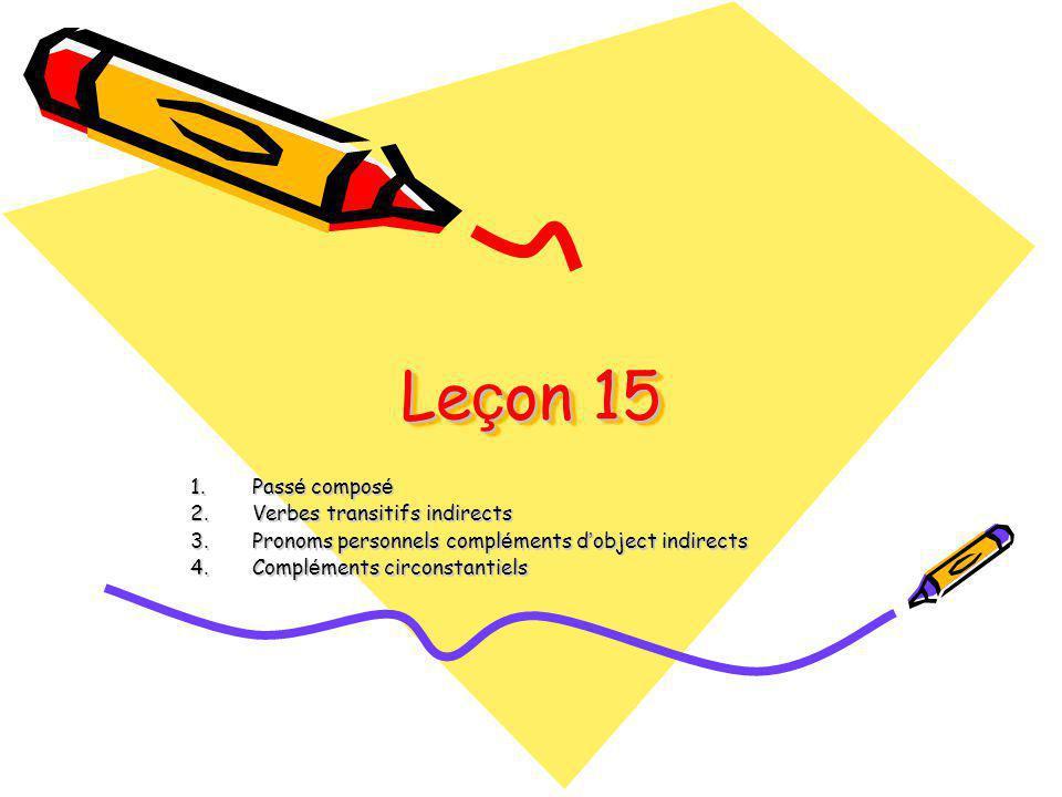 Leçon 15 Passé composé Verbes transitifs indirects