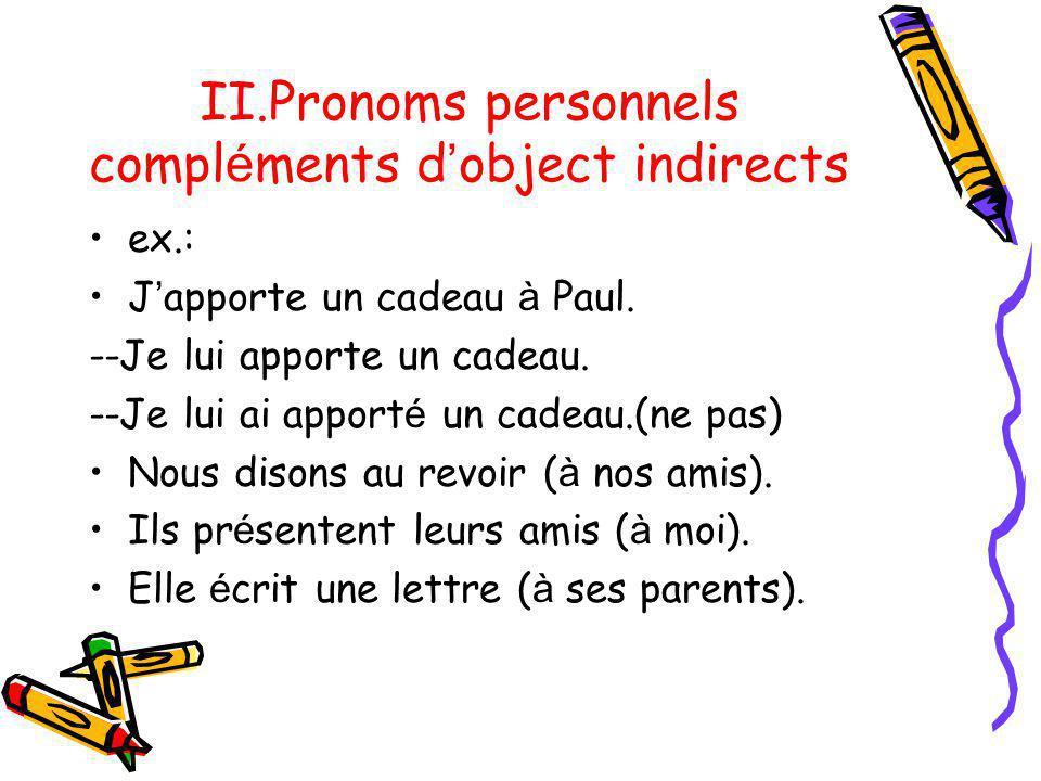 II.Pronoms personnels compléments d'object indirects