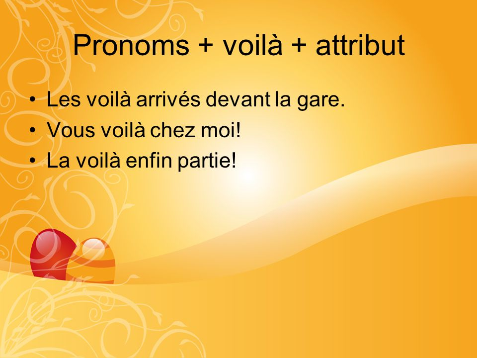 Pronoms + voilà + attribut