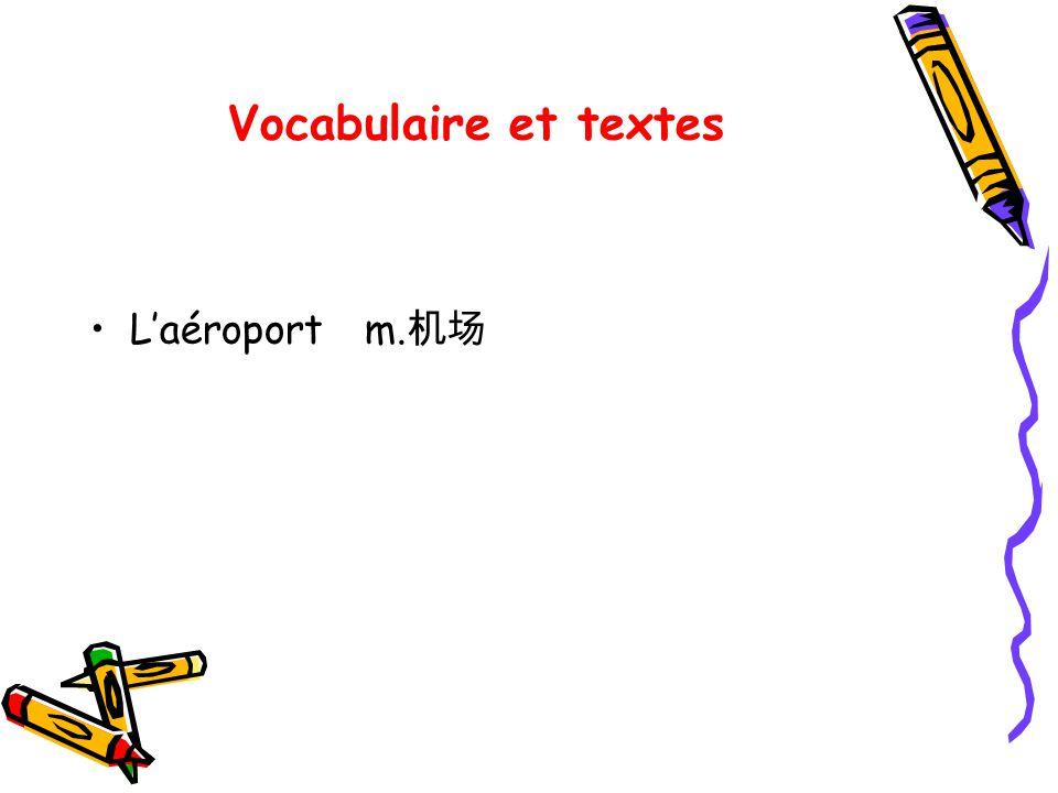 Vocabulaire et textes L'aéroport m.机场