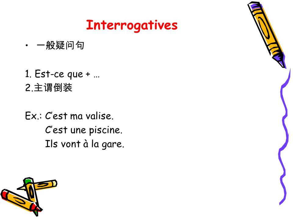 Interrogatives 一般疑问句 1. Est-ce que + … 2.主谓倒装 Ex.: C'est ma valise.